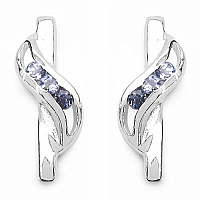 0.12CTW Genuine Tanzanite .925 Sterling Silver Earrings