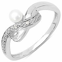 0.33CTW White Pearl & Cubic Zirconia .925 Sterling Silver Ring
