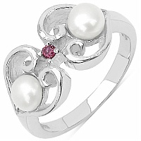 2.05CTW White Pearl & Rhodolite .925 Sterling Silver Ring