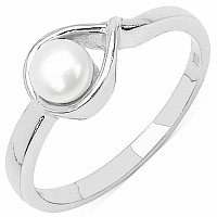 1.00CTW Assuasive Round Pearl .925 Sterling Silver Ring
