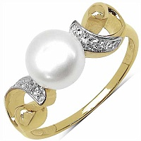 2.27CTW Pearl & Cubic Zircon Gold Plated .925 Sterling Silve