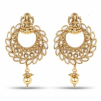 Gold Plated Traditional Temple Dangle Drop Chandbali Earring