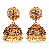 Gold Plated Traditional Jhumki Earrings for Women Adorned wi