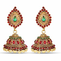 Gold Plated Traditional Multicolour Jhumki Earrings for Wome