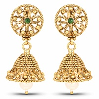 Gold Plated Traditional Temple Earrings For Women