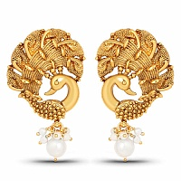 Gold Plated Peacock Shape Temple Earrings For Women