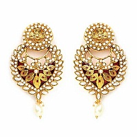 Johareez White Synthetic Pearl Gold Plated Red Enamel  Earri
