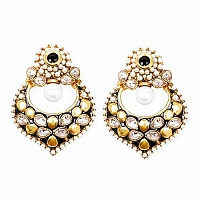 Johareez Multistone Gold Plated Black Enamel  Earrings