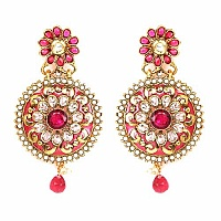 Johareez Multistone Gold Plated Pink & Green Enamel  Earring