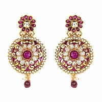 Johareez Multistone Gold Plated Purple & Green Enamel  Earri