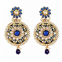 Johareez Multistone Gold Plated Blue & Green Enamel  Earring