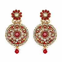 Johareez Multistone Gold Plated Red & Green Enamel  Earrings