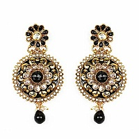 Johareez Multistone Gold Plated Black & Green Enamel  Earrin