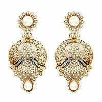 Johareez White Synthetic Pearl Gold Plated Blue Enamel  Earr