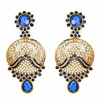 Johareez Blue Stone & White Synthetic Pearl Gold Plated Blue