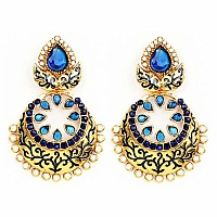 Johareez Blue Glass & White Synthetic Pearl Gold Plated Blue