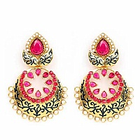 Johareez Pink Glass & White Synthetic Pearl Gold Plated Blue