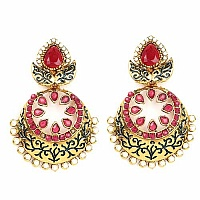 Johareez Red Glass & White Synthetic Pearl Gold Plated Blue