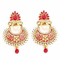 Johareez Multistone Gold Plated Pink Enamel  Earrings