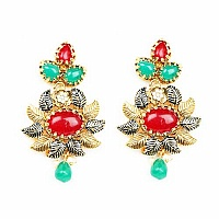 Johareez Multistone Gold Plated Blue Enamel  Earrings