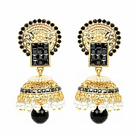 Johareez Black Glass & White Synthetic Pearl Gold Plated   E