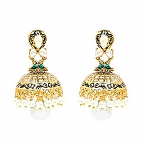 Johareez White Glass & White Synthetic Pearl Gold Plated Gre