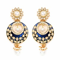 Johareez White Glass & White Synthetic Pearl Gold Plated Blu