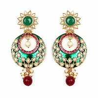 Johareez Multistone Gold Plated Green Enamel  Earrings