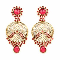 Johareez Multistone Gold Plated Red Enamel  Earrings