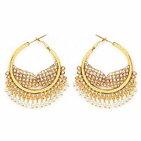 Johareez White Glass & White Synthetic Pearl Gold Plated   E