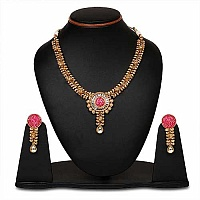 Johareez Multistone Gold Plated Pink & Green Enamel  Necklac