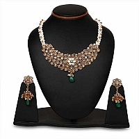 Johareez Multistone Gold Plated Green Enamel  Necklace Set
