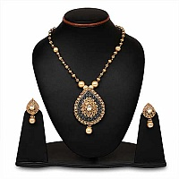 Johareez Multistone Gold Plated Black & Green Enamel  Neckla