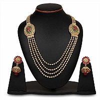Johareez Pink Glass & Green Glass Gold Plated   Necklace Set