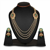 Johareez Green Glass & Pink Glass Gold Plated   Necklace Set