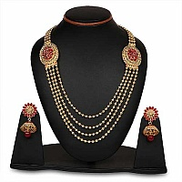 Johareez Pink Glass Gold Plated   Necklace Set