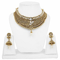 Traditional Ethnic Goldplated Fashion Pearl Drop Choker Neck