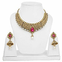 Traditional Goldplated Fashion Choker Ethnic Pearl Drop Neck