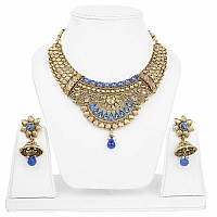 Traditional Ethnic Goldplated Fashion Choker Blue Necklace S