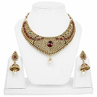 Traditional Meenakari Ethnic Goldplated Fashion Red Choker P