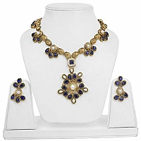 Traditional Floral Ethnic Goldplated Fashion Blue Stone Pear