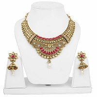 Traditional Ethnic Goldplated Fashion Choker Pearl Drop Neck