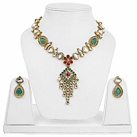 Traditional Goldplated Cubic Zirconia Polki Multicolour Fash