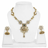 Traditional Goldplated Floral Fashion Meenakari Necklace Set