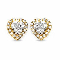 White Cubic Zirconia Gold Plated Brass Heart Shape Earrings