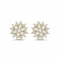 White Cubic Zirconia Gold Plated Brass Floral Shape Earrings