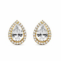 White Cubic Zirconia Gold Plated Brass Pear Shape Earrings