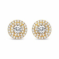 White Cubic Zirconia Gold Plated Brass Round Shape Earrings