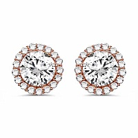 White Cubic Zirconia Rose Gold Plated Brass Round Shape Earr