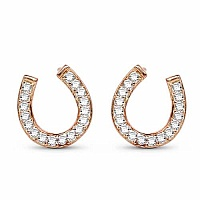 White Cubic Zirconia Rose Gold Plated Brass Horse Shoe Shape